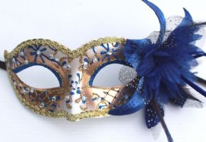 Blue and Gold Masquerade Mask - Sparkling Mask | Masks and Tiaras